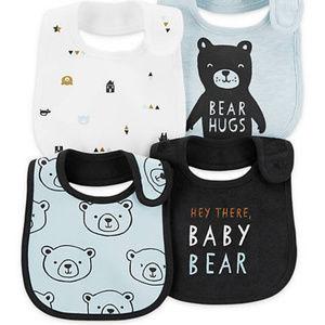 Carter's NWT Baby Boys' 4-Pack Bear Teething Bib